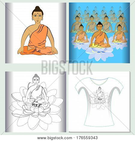 Set Of  Design T-shirt Sound Ohm Meditation  Vector Illustration