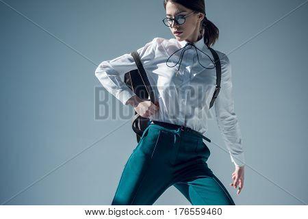 Stylish Woman In White Shirt