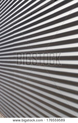 Metal Profile. Striped Wall. Decoration Of Building Facade.