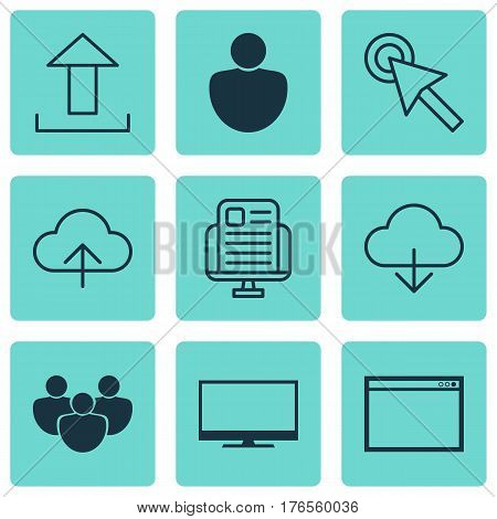 Set Of 9 Internet Icons. Includes Data Synchronize, Send Data, Display And Other Symbols. Beautiful Design Elements.