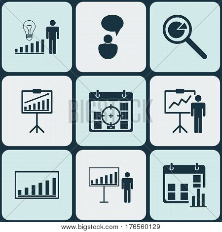 Set Of 9 Board Icons. Includes Project Analysis, Company Statistics, Report Demonstration And Other Symbols. Beautiful Design Elements.
