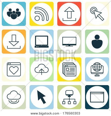 Set Of 16 World Wide Web Icons. Includes Data Synchronize, Team, Human And Other Symbols. Beautiful Design Elements.