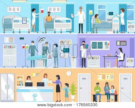 Horizontal set of medical services with doctors and patients in hospital. Vector illustration of reception, laboratory with radiographs and microscope, operating room and hospital for in-patients.