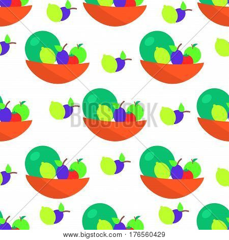 Colorful fruits cartoon seamless pattern. Pomelo, apple, lemon and plum in in bowl flat isolated flat vector. Edible plants ornament with repeating elements for wrapping paper, cards and prints