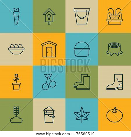 Set Of 16 Holticulture Icons. Includes Farmhouse, Ovum, Birdhouse And Other Symbols. Beautiful Design Elements.
