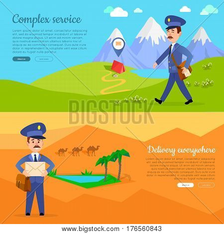 Complex service delivery anywhere web banner. World delivery picture with postman. Mailman in suit walking in hot summer day. Express mail at any weather conditions vector illustration in cartoon style