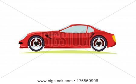 Red modern fast sports car on white background vector illustration. New luxurious and special design for car lovers automobile of future for everyone. Two wheels side door window and lights are shown