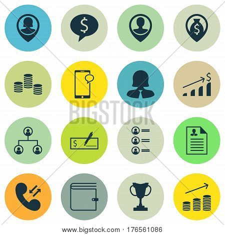 Set Of 16 Hr Icons. Includes Pin Employee, Coins Growth, Cellular Data And Other Symbols. Beautiful Design Elements.
