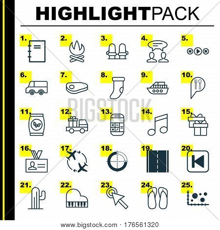 Set Of 25 Universal Editable Icons. Can Be Used For Web, Mobile And App Design. Includes Elements Such As Photo Camera, Calculation, Lorry And More.
