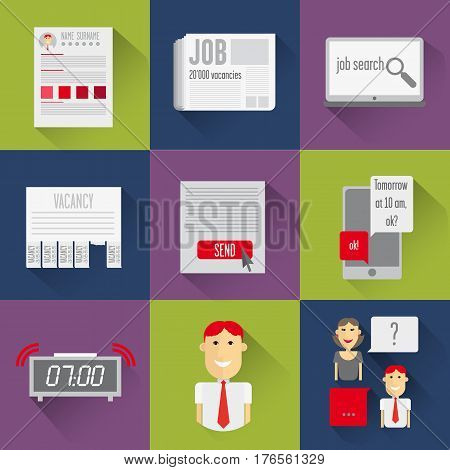 It contains the basic elements describing the job. Set icons search. It contains the basic elements describing the job. Newspaper ads, web search, resume preparation, delivery job, assignment is the interview, preparing for a job interview, job interview.