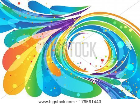 Abstract multicolored circle frame element on white