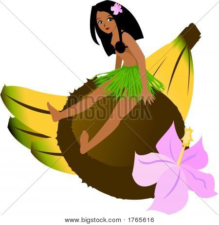 Tropical Girl Sitting On Coconut