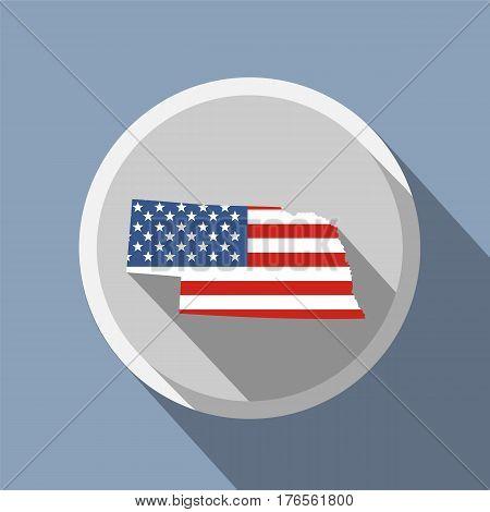 map of the U.S. state of Nebraska American flag
