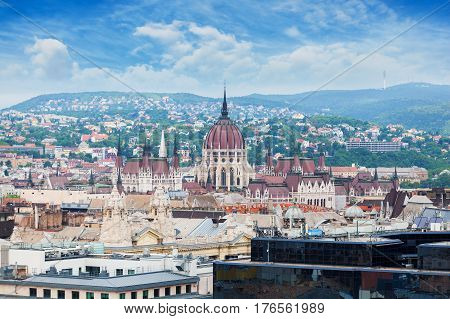 Parliament building in Budapest, Hungary. Panorama of the city of Budapest with the Parliament building on the horizon