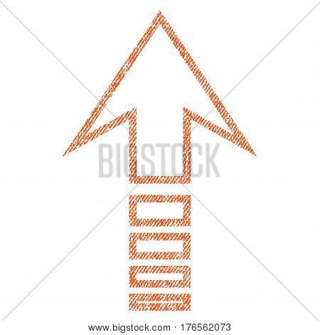 Send Up vector textured icon for overlay watermark stamps. Fabric orange vectorized texture. Symbol with unclean design. Rubber seal stamp with fiber textile structure.