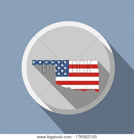 map of the U.S. state of Oklahoma. American flag