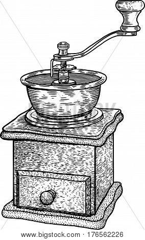 Coffee grinder illustration, drawing, engraving, ink, line art