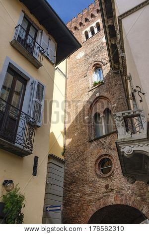 Monza (Brianza Lombardy Italy) : the medieval tower of Teodolinda built in 13th century and situated in via Lambro