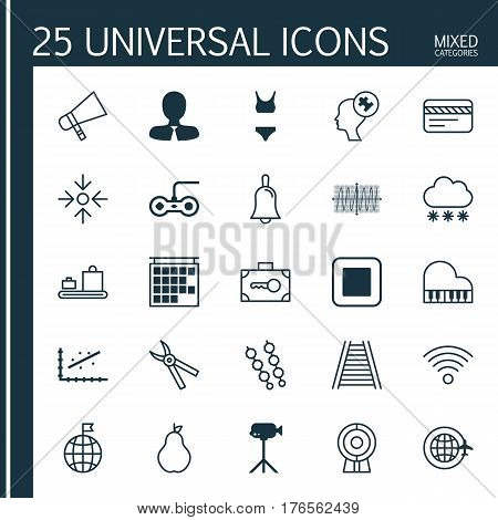 Set Of 25 Universal Editable Icons. Can Be Used For Web, Mobile And App Design. Includes Elements Such As Human Mind, Handbell, Bank Card.