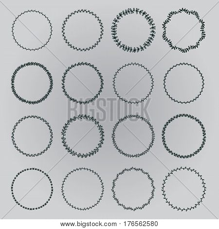 Set wreaths. Decorative wreaths plant motifs. It contains sixteen different wreaths. Grey background.