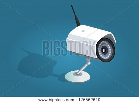Surveillance camera safety home protection system on blue background. Flat icon of wireless white security camera with shadow in cartoon style. Modern vector illustration for web and mobile.