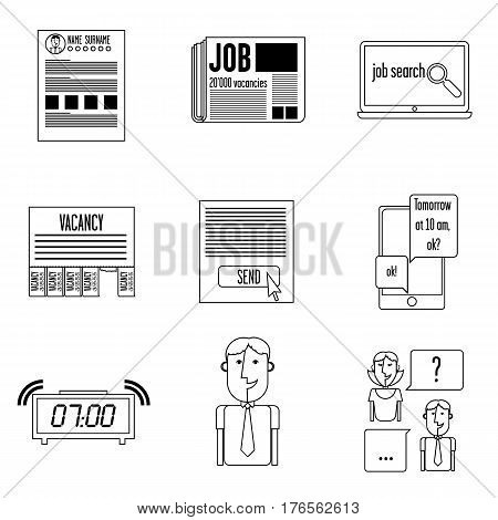 Set icons search. It contains the basic elements describing the job.  web search, resume preparation, delivery job, assignment is the interview, preparing for a job interview, job interview.