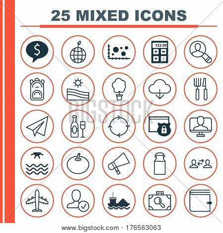 Set Of 25 Universal Editable Icons. Can Be Used For Web, Mobile And App Design. Includes Elements Such As Save Data, Jug, Spectator And More.