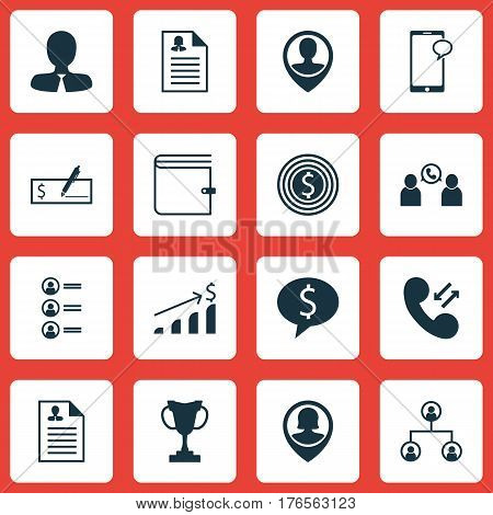 Set Of 16 Management Icons. Includes Tournament, Pin Employee, Job Applicants And Other Symbols. Beautiful Design Elements.
