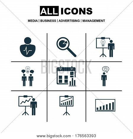 Set Of 9 Board Icons. Includes Project Analysis, Presentation Date, Special Demonstration And Other Symbols. Beautiful Design Elements.