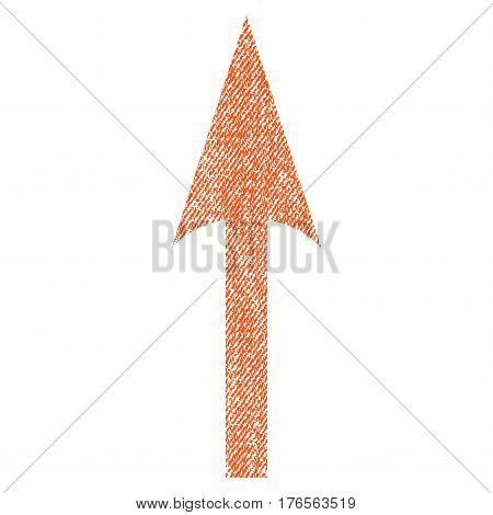 Sharp Arrow Up vector textured icon for overlay watermark stamps. Fabric orange vectorized texture. Symbol with dirty design. Rubber seal stamp with fiber textile structure.