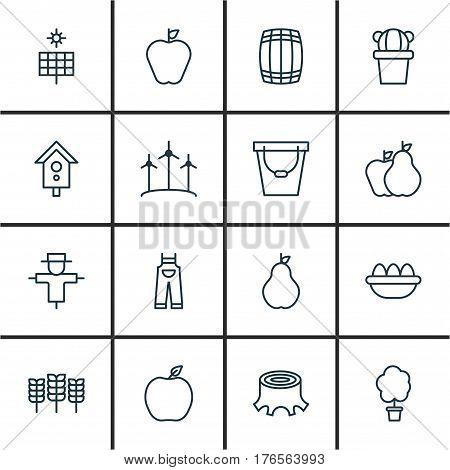 Set Of 16 Farm Icons. Includes Wood Pot, Taste Apple, Birdhouse And Other Symbols. Beautiful Design Elements.
