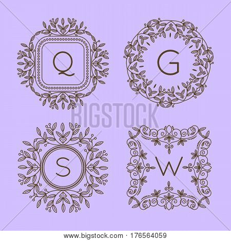 Monogram logo and text badge emblem line art vector illustration luxury template flourishes calligraphic leaves elegant ornament sign. Flourish outline decoration frame border with letter.