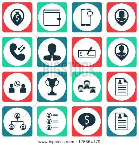Set Of 16 Management Icons. Includes Phone Conference, Employee Location, Job Applicants And Other Symbols. Beautiful Design Elements.