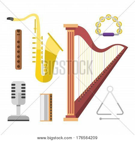 Harp icon golden stringed musical instrument classical orchestra art sound tool and saxophone acoustic symphony stringed fiddle vector illustration. Vintage performance classic folk artistic sign.