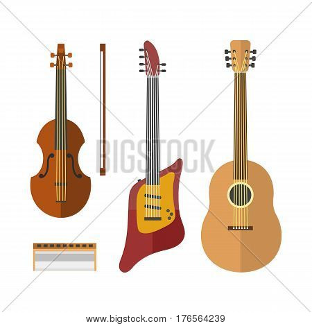 Guitar icon stringed electric musical instrument classical orchestra art sound tool and acoustic symphony stringed fiddle wooden vector illustration. Vintage performance classic rock sign.