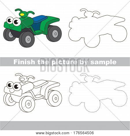 Drawing worksheet for children. Easy educational kid game. Simple level of difficulty. Finish the picture and draw the cute Quad bike