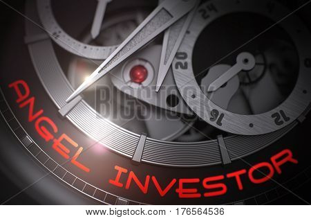 Old Wristwatch with Angel Investor Inscription on Face. Work Concept with Glowing Light Effect. 3D Rendering.