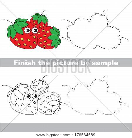 Drawing worksheet for children. Easy educational kid game. Simple level of difficulty. Finish the picture and draw the Funny Strawberry