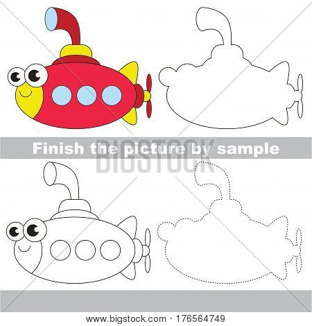 Drawing worksheet for children. Easy educational kid game. Simple level of difficulty. Finish the picture and draw the Funny Submarine