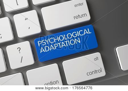 Psychological Adaptation Concept: Slim Aluminum Keyboard with Psychological Adaptation, Selected Focus on Blue Enter Button. 3D Render.
