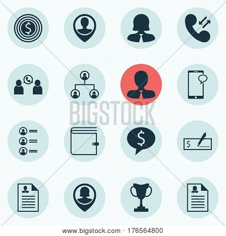 Set Of 16 Human Resources Icons. Includes Curriculum Vitae, Female Application, Manager And Other Symbols. Beautiful Design Elements.