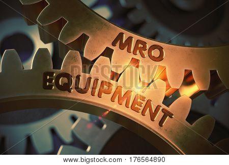Golden Metallic Cogwheels with MRO Equipment Concept. MRO Equipment on the Mechanism of Golden Gears. 3D Rendering.