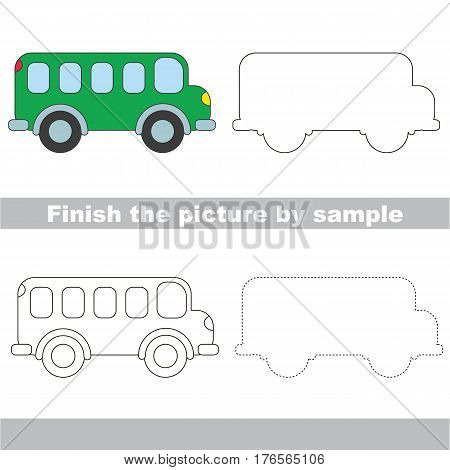 Drawing worksheet for children. Easy educational kid game. Simple level of difficulty. Finish the picture and draw the Bus
