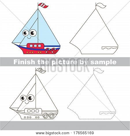 Drawing worksheet for children. Easy educational kid game. Simple level of difficulty. Finish the picture and draw the cute Boat