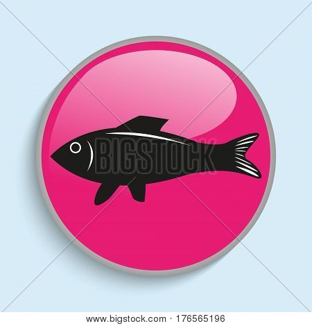 A dish of fresh fish. Vector icon. Conditional vector image in the form of color.