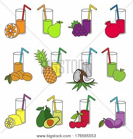 Set of fruit juices in vector, the colorful version.