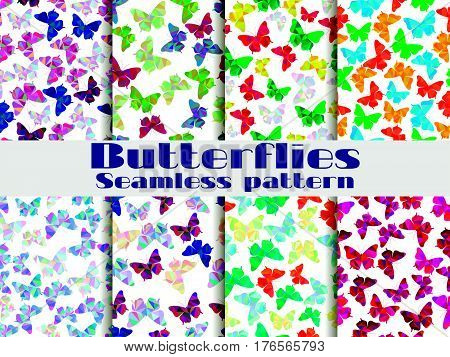 Seamless Patterns With Butterflies. Set Of Backgrounds With Polygonal Butterflies. Vector Illustrati