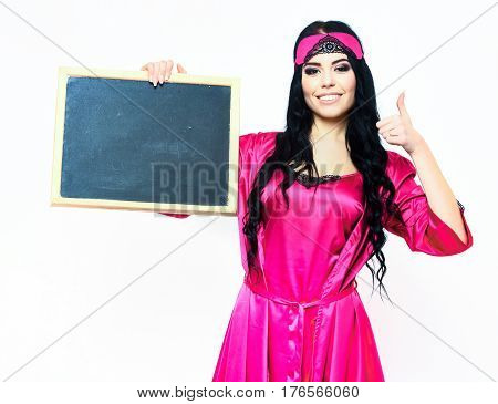 Smiling Happy Sexy Girl In Silk Robe Holding Black Board