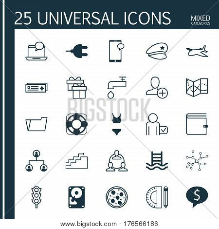 Set Of 25 Universal Editable Icons. Can Be Used For Web, Mobile And App Design. Includes Elements Such As Road Map, Stoplight, Present And More.