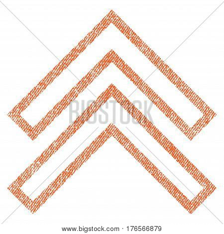Shift Up vector textured icon for overlay watermark stamps. Fabric orange vectorized texture. Symbol with scratched design. Rubber seal stamp with fiber textile structure.